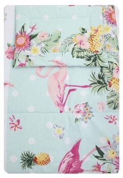 Lenjerie 3 piese, Flamingo, roz cu turcoaz, 120x60cm