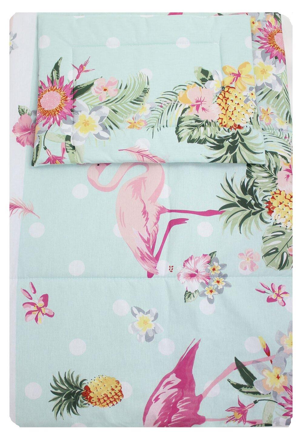 Lenjerie 3 piese, Flamingo, roz cu turcoaz, 120x60cm imagine
