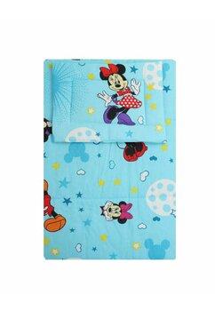 Lenjerie 3 piese, Minnie si Mickey, albastra cu stelute, 120x60cm