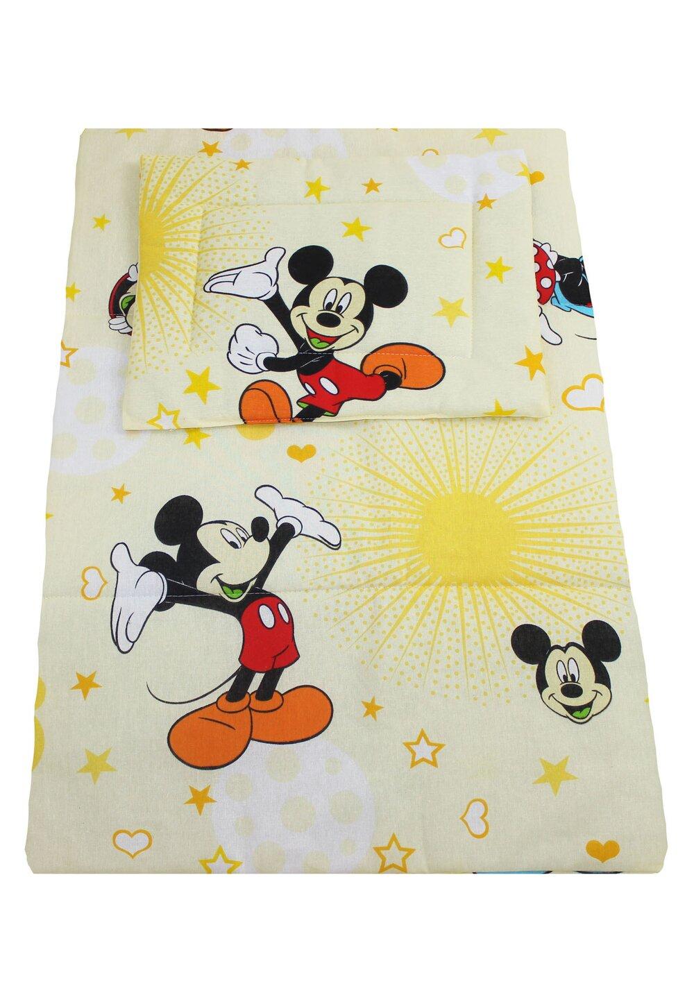 Lenjerie 3 piese, Minnie si Mickey, galben, 120x60cm imagine
