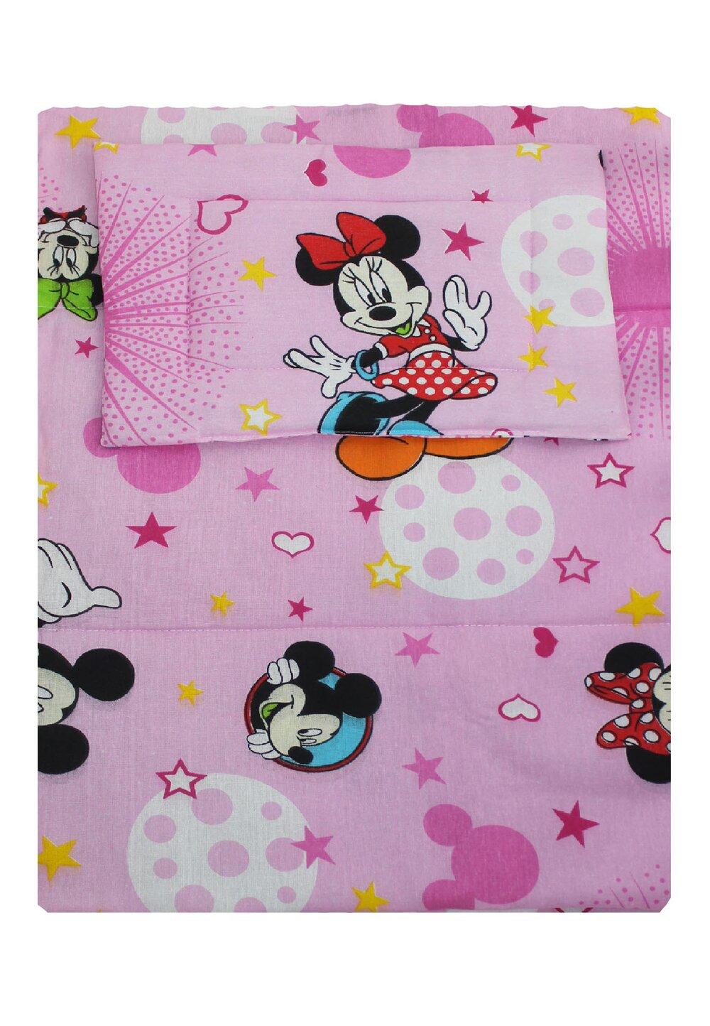 Lenjerie 3 piese, Minnie si Mickey, roz cu stelute, 120x60cm imagine