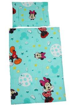 Lenjerie 3 piese, Minnie si Mickey, turcoaz cu stelute, 120x60cm