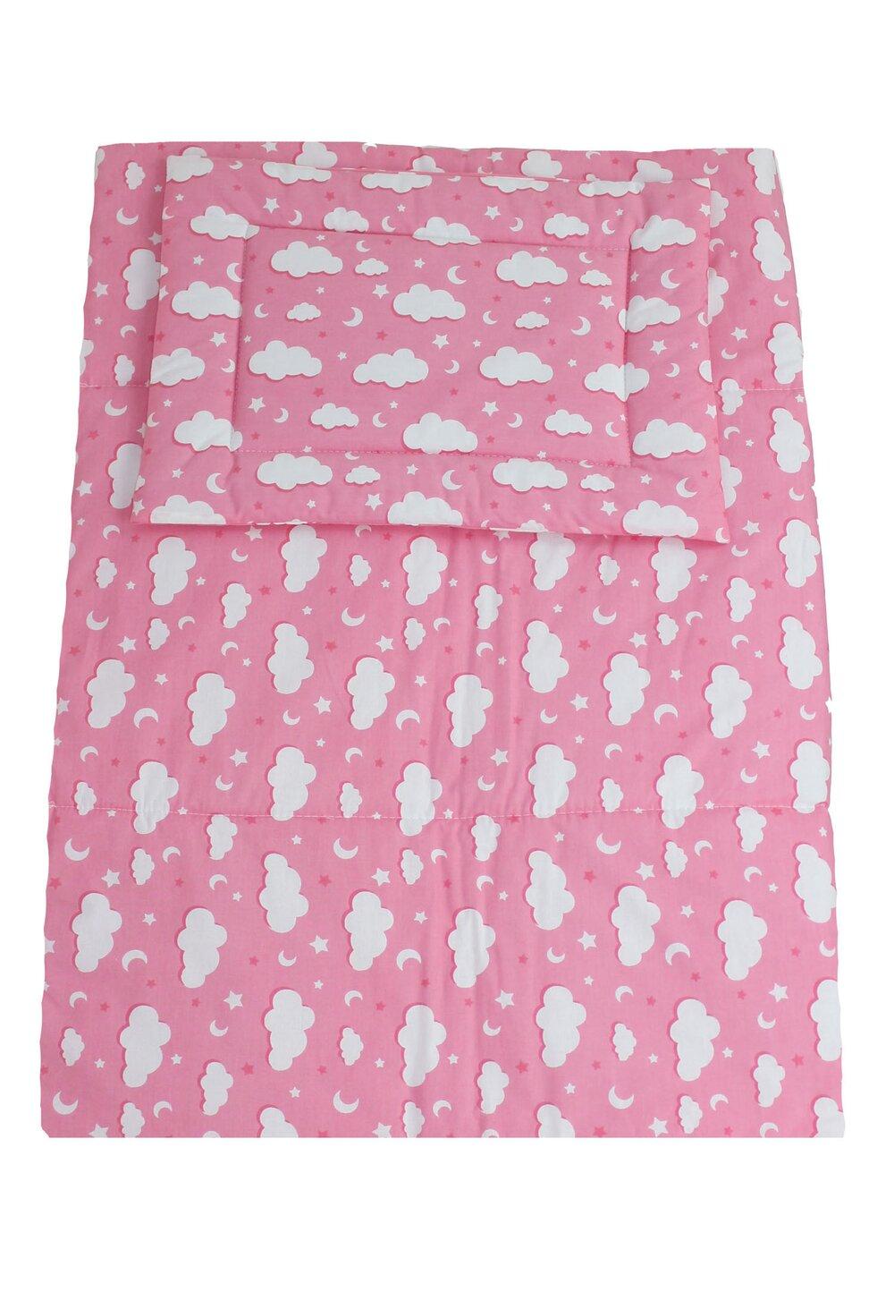 Lenjerie 3 piese, norisori si stelute, roz, 120x60cm imagine