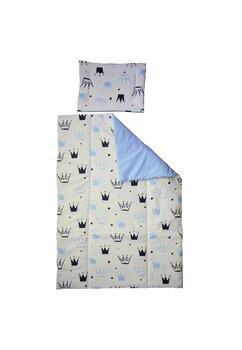 Lenjerie 3 piese, Prichindel, coronite si buline, albastru,120x60cm