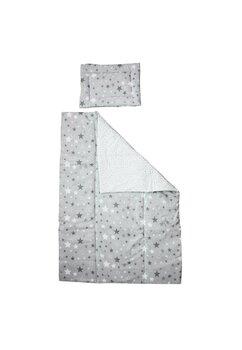 Lenjerie 3 piese, Prichindel, gri cu stelute si verso alb cu stelute gri,120x60cm