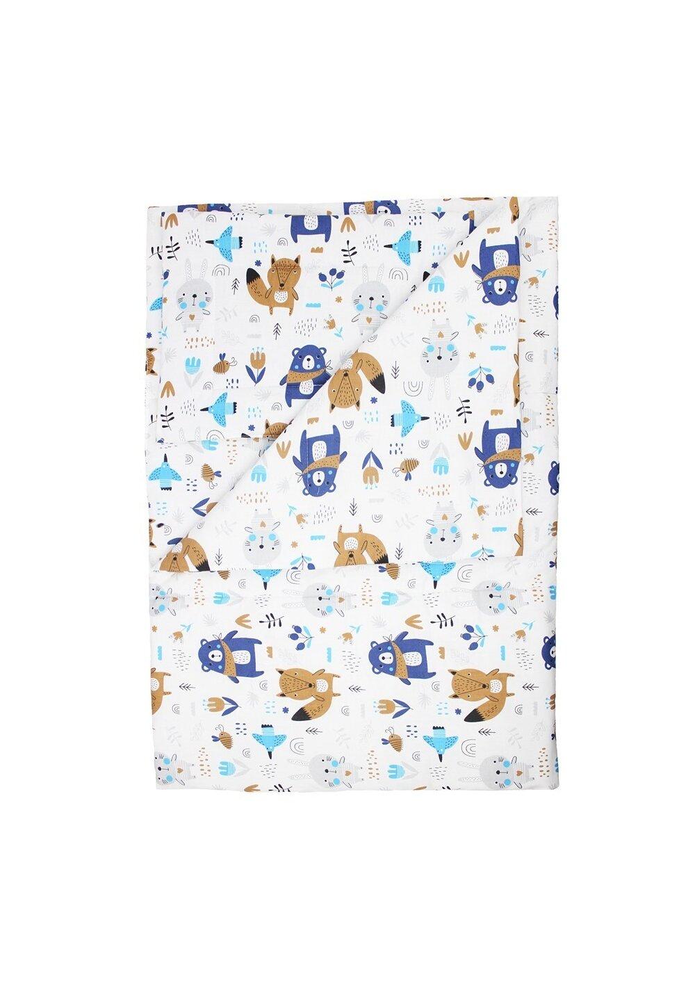 Lenjerie 3 piese, Ursuletul cu esarfa, albastru, 120x60cm imagine