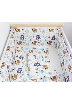 Lenjerie 3 piese, Ursuletul cu esarfa, albastru, 120x60cm