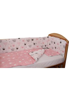 Lenjerie 4 piese, 2 fete, coronite Princess roz, 120 x 60 cm