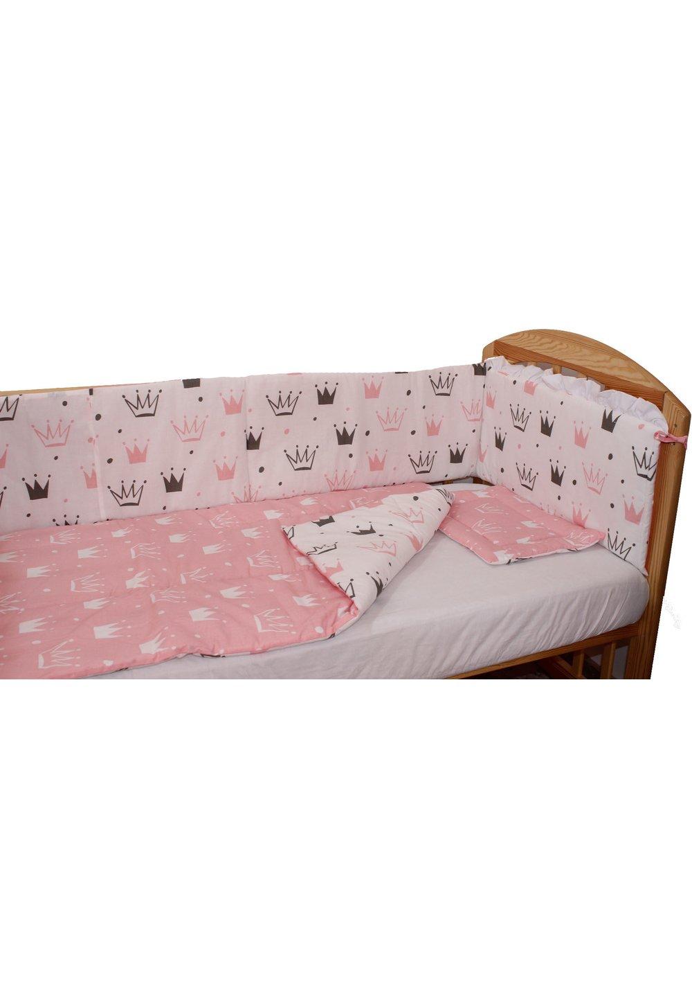Lenjerie 4 piese, 2 fete, coronite Princess roz, 120 x 60 cm imagine