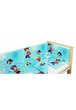 Lenjerie 4 piese, Minnie si Mickey, albastra cu stelute, 120x60cm