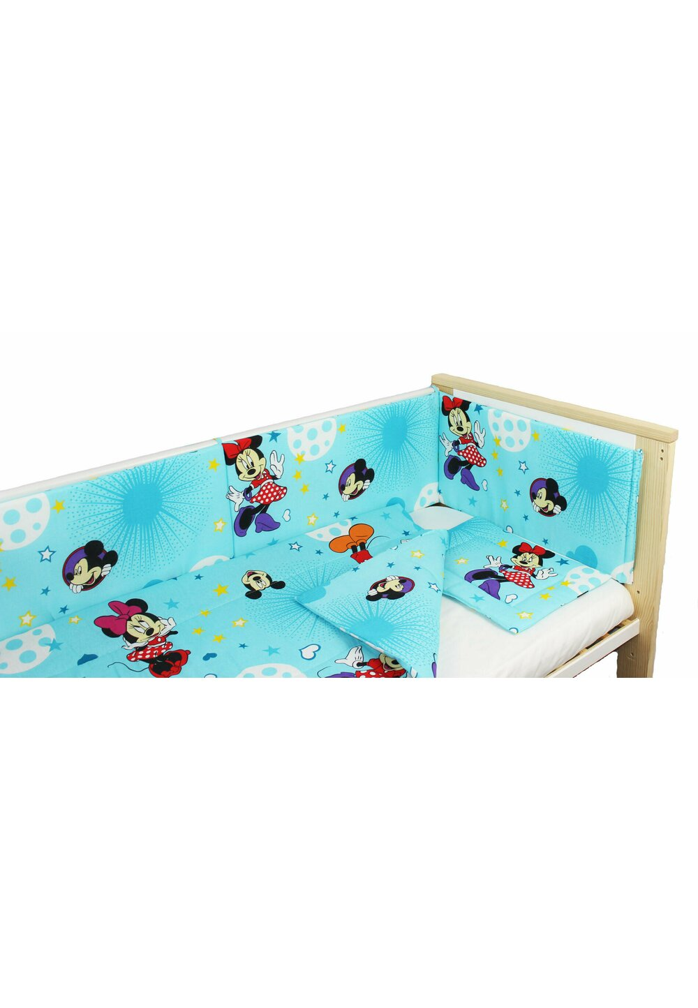 Lenjerie 4 piese, Minnie si Mickey, albastra cu stelute, 120x60cm imagine