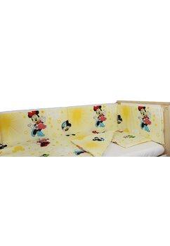 Lenjerie 4 piese, Minnie si Mickey, galben, 120x60cm
