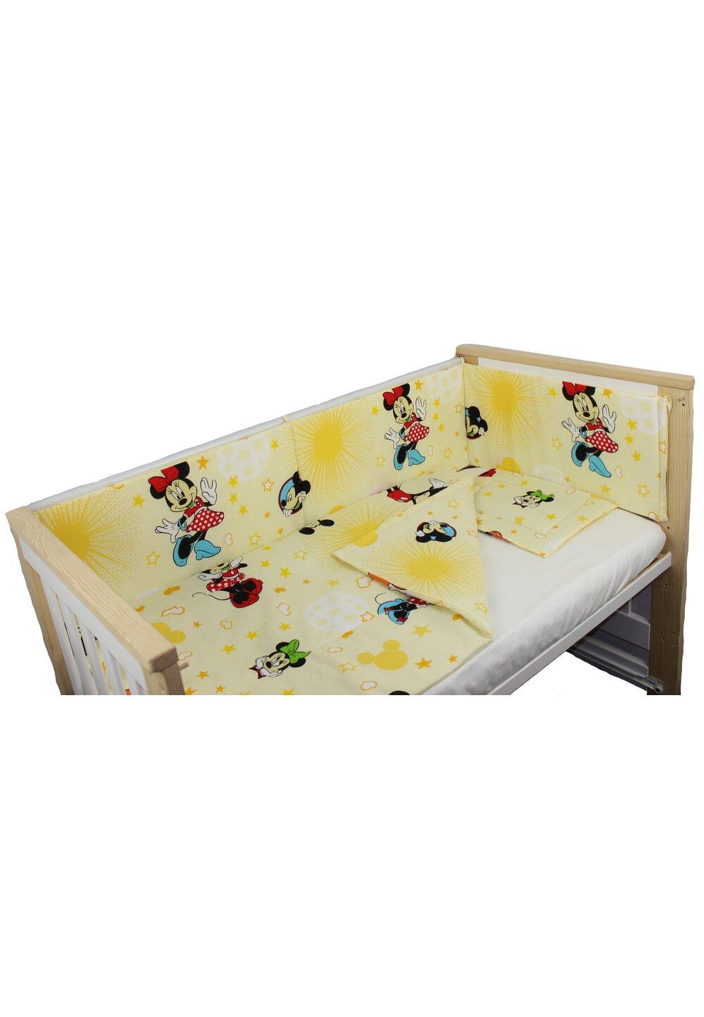 Lenjerie 4 piese, Minnie si Mickey, galben, 120x60cm imagine