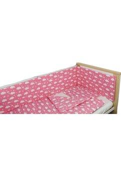 Lenjerie 4 piese, norisori si stelute, roz, 120x60cm