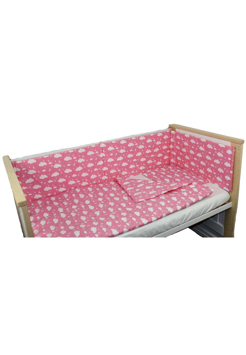Lenjerie 4 piese, norisori si stelute, roz, 120x60cm imagine
