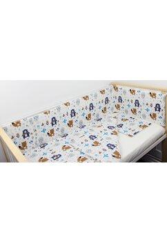 Lenjerie 4 piese, Ursuletul cu esarfa, albastru, 120x60cm