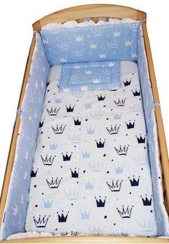 Lenjerie 5 piese, 2 fete, coronite Prince albastru, 120 x 60 cm