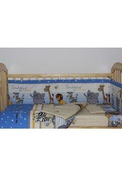 Lenjerie 5 piese animalute albastra, 140x70cm