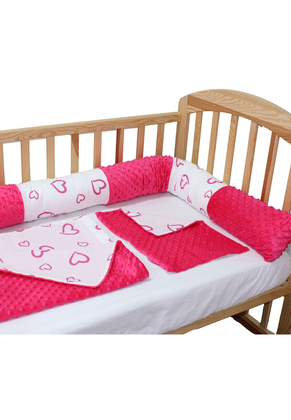 Lenjerie 5 piese, cu bumper, roz inchis, inimioare, 120 x 60 cm imagine