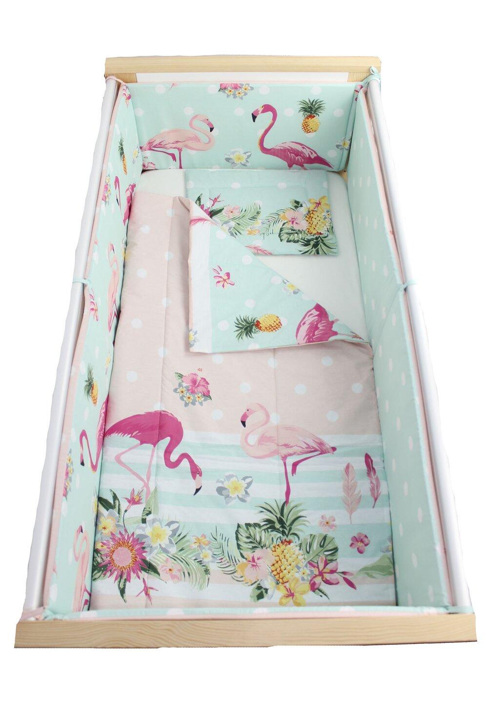Lenjerie 5 piese, Flamingo, roz cu turcoaz, 120x60cm imagine