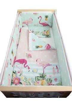 Lenjerie 5 piese, Flamingo, roz cu turcoaz, 120x60cm