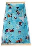 Lenjerie 5 piese, Minnie si Mickey, albastra cu stelute, 120x60cm