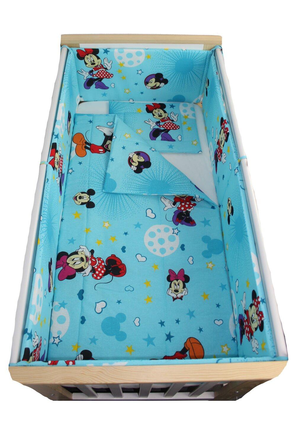 Lenjerie 5 piese, Minnie si Mickey, albastra cu stelute, 120x60cm imagine