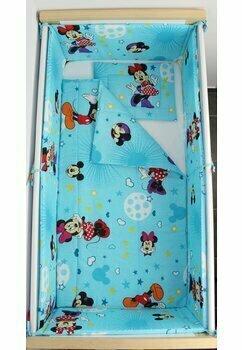 Lenjerie 5 piese, Minnie si Mickey, albastra cu stelute, 140x70 cm