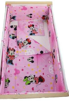 Lenjerie 5 piese, Minnie si Mickey, roz cu stelute, 120x60cm