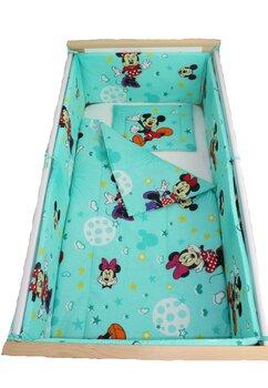 Lenjerie 5 piese, Minnie si Mickey, turcoaz cu stelute, 120x60cm