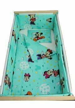 Lenjerie 5 piese, Minnie si Mickey, turcoaz cu stelute, 140x70 cm