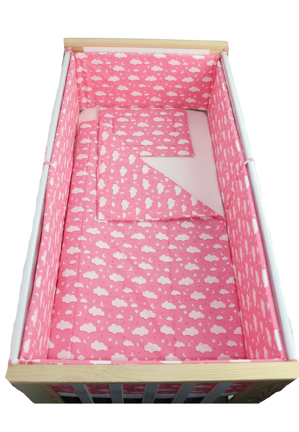 Lenjerie 5 piese, norisori si stelute, roz, 120x60cm imagine