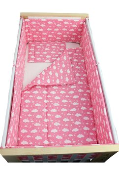 Lenjerie 5 piese, norisori si stelute, roz, 120x60cm