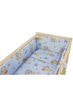 Lenjerie 5 piese, piccolo, ursulet cu albinute, albastru, 95x45cm