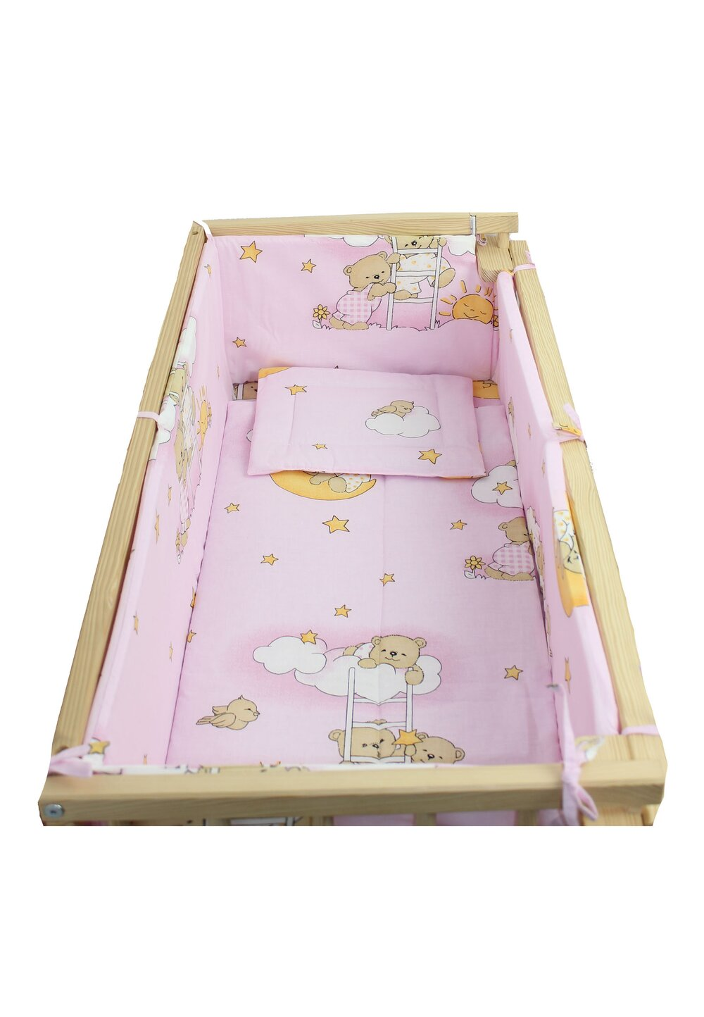 Lenjerie 5 piese, piccolo, Ursuletul somnoros roz, 95x45cm imagine