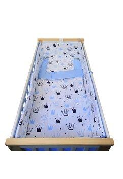Lenjerie 5 piese, Prichindel, coronite si buline, albastru,140x70cm
