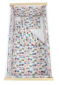 Lenjerie 5 piese, Prichindel, cu masinute,120x60cm