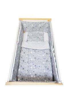 Lenjerie 5 piese, Prichindel, gri cu stelute si verso alb cu stelute  gri,140x70cm