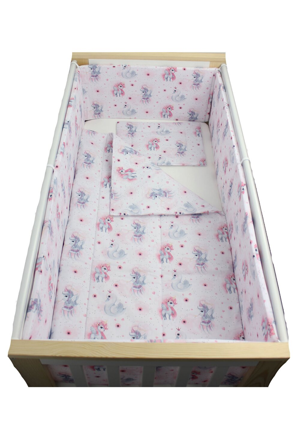 Lenjerie 5 piese, Unicornul roz, 120x60cm imagine