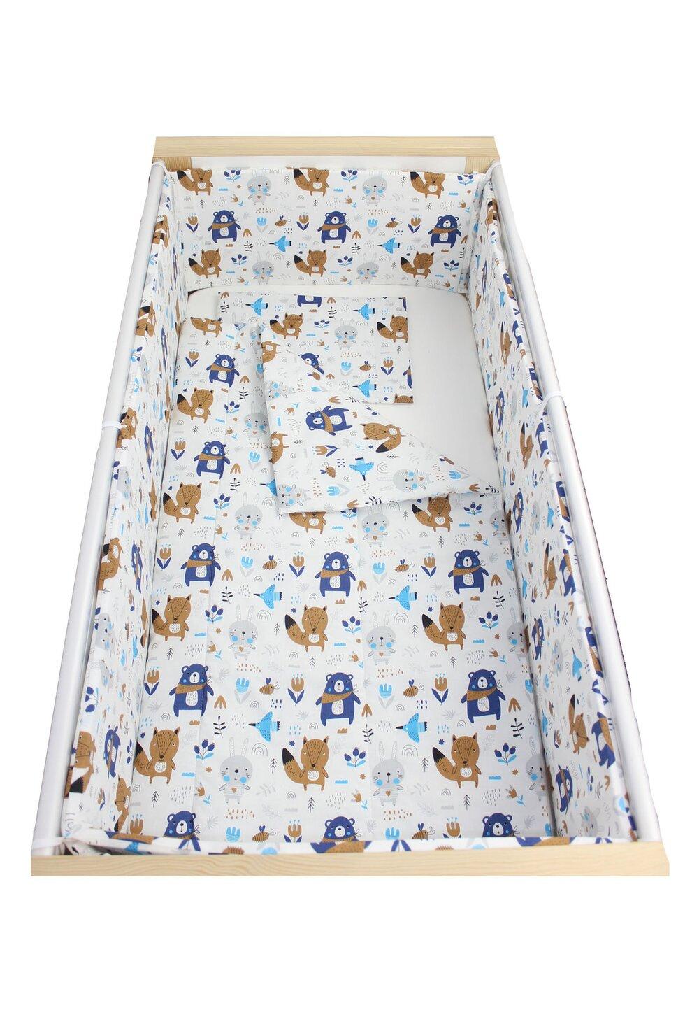 Lenjerie 5 piese, Ursuletul cu esarfa, albastru, 120x60cm imagine