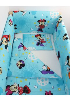 Lenjerie 7 piese, Maxi, Minnie si Mickey, albastra cu stelute, 120x60cm