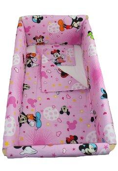 Lenjerie 7 piese, Maxi, Minnie si Mickey, roz cu stelute, 120x60cm