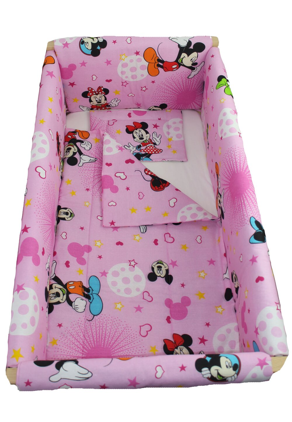 Lenjerie 7 piese, Maxi, Minnie si Mickey, roz cu stelute, 120x60cm imagine