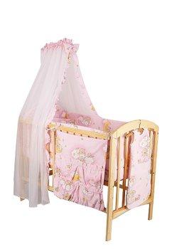 Lenjerie 8 piese, ursuletul somnoros, roz, 120x60 cm