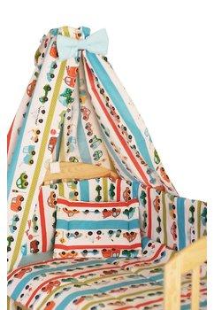 Lenjerie 9 piese, masinute turcoaz, 120x60 cm