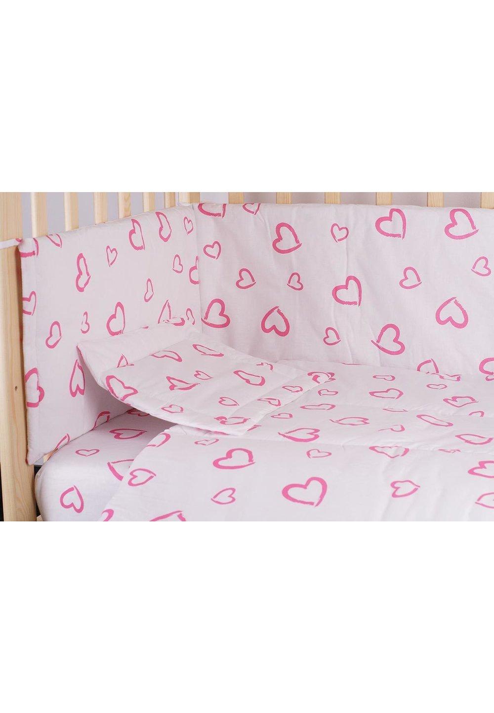 Lenjerie alba,inimioare,roz,3 piese, 120 x 60 imagine