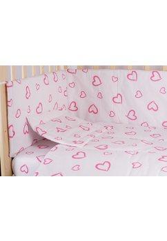 Lenjerie alba,inimioare,roz,4 piese, 120 x 60