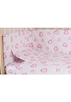 Lenjerie alba,inimioare,roz,5 piese, 140x70 cm