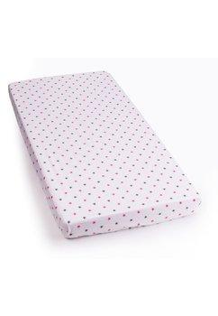Lenjerie alba,stelute roz cu gri,4 piese, 120 x 60