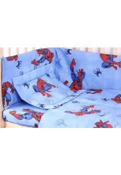 Lenjerie bumbac Spiderman,albastru, 5 piese 120x60 cm
